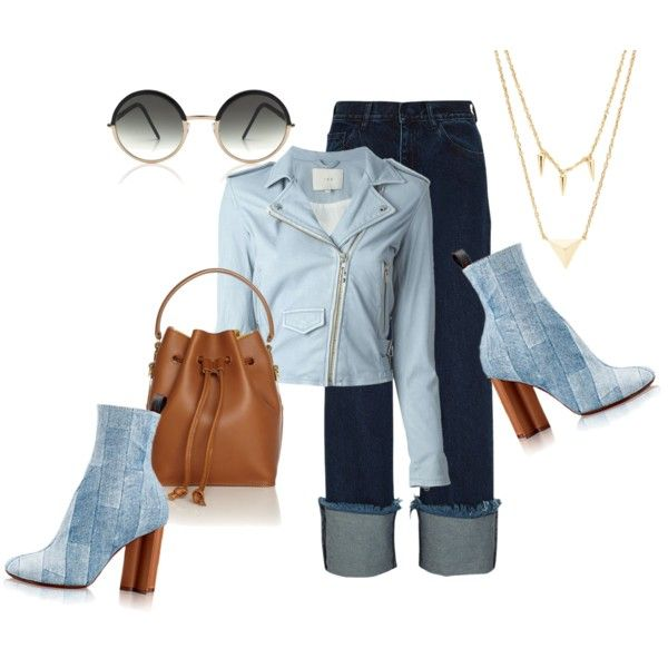 blue denim fashion collage