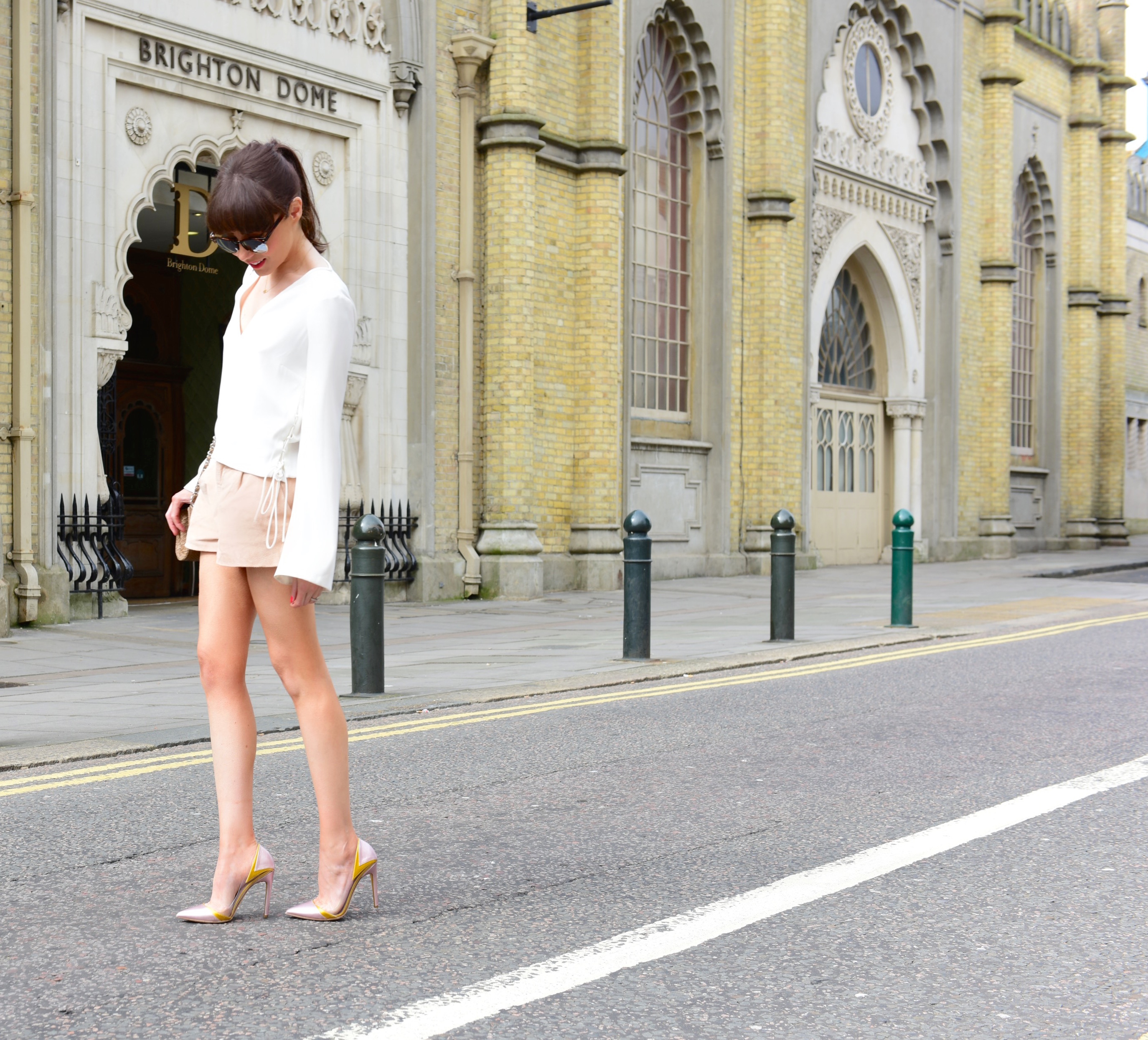 suede-shorts-bell-sleeved-top