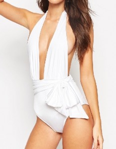 ASOS Belted Plunge Swimsuit - White