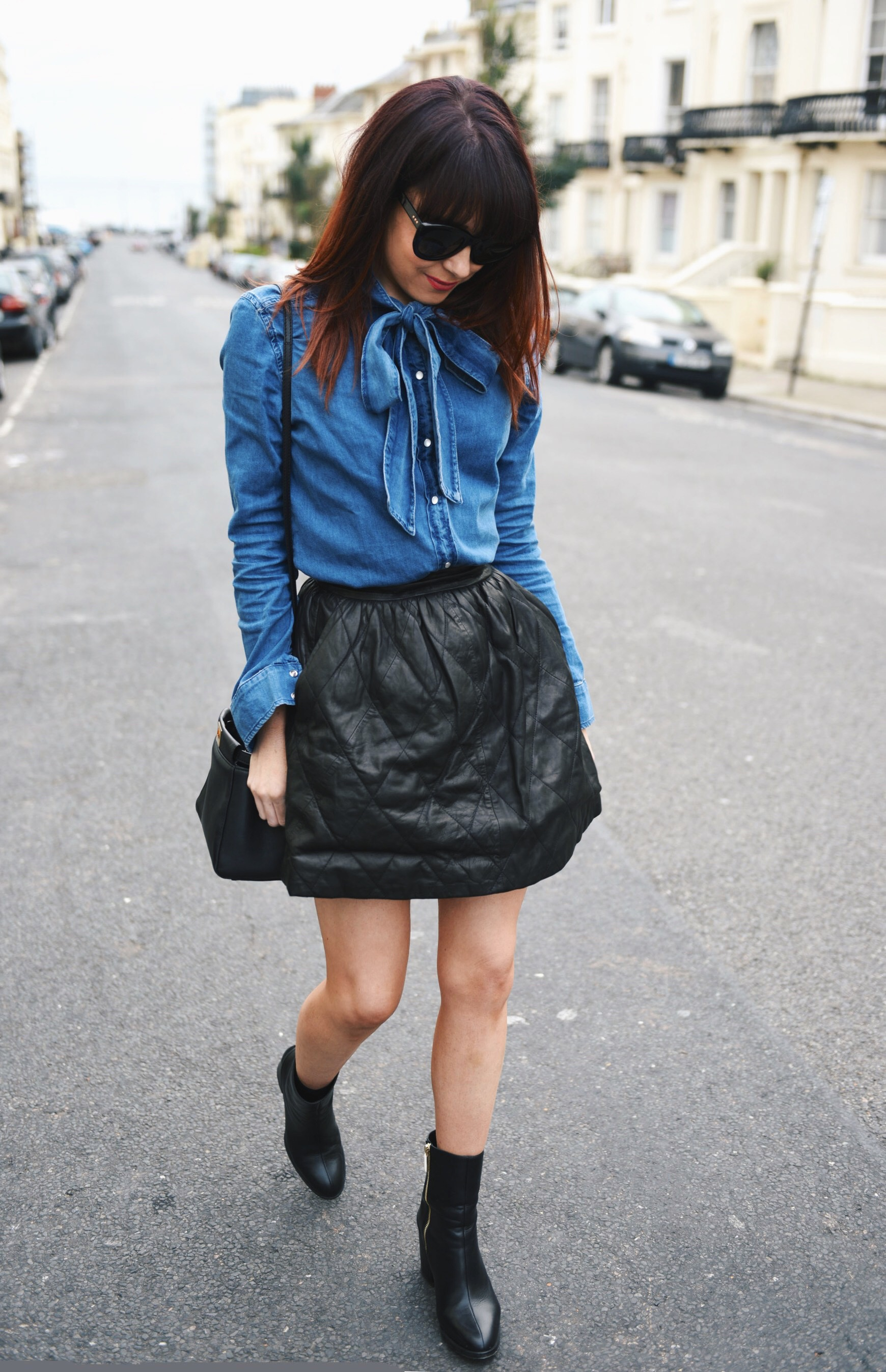 black and denim blue shirts