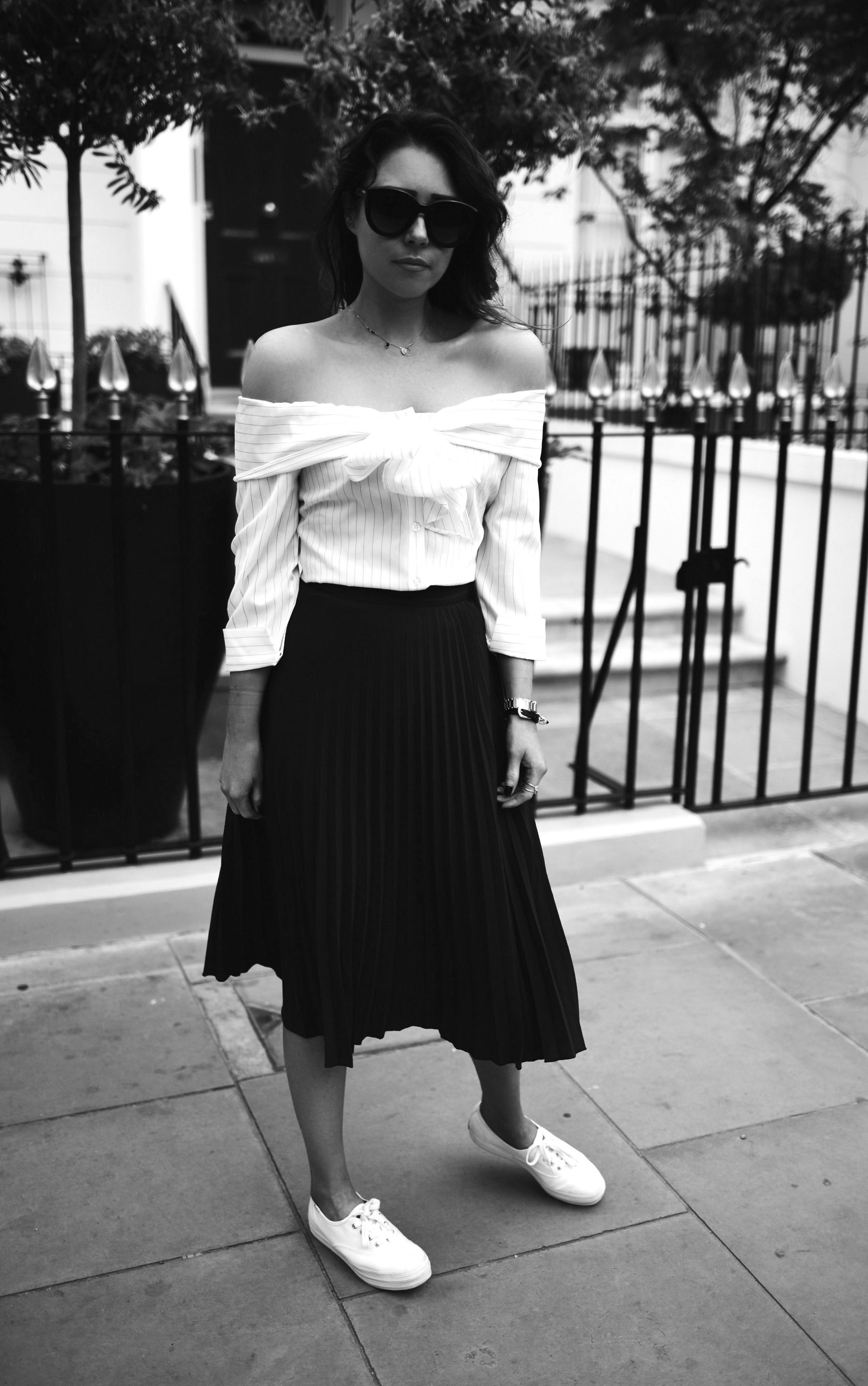 pleated-skirt-crew-clothing-off-the-shoulder-top