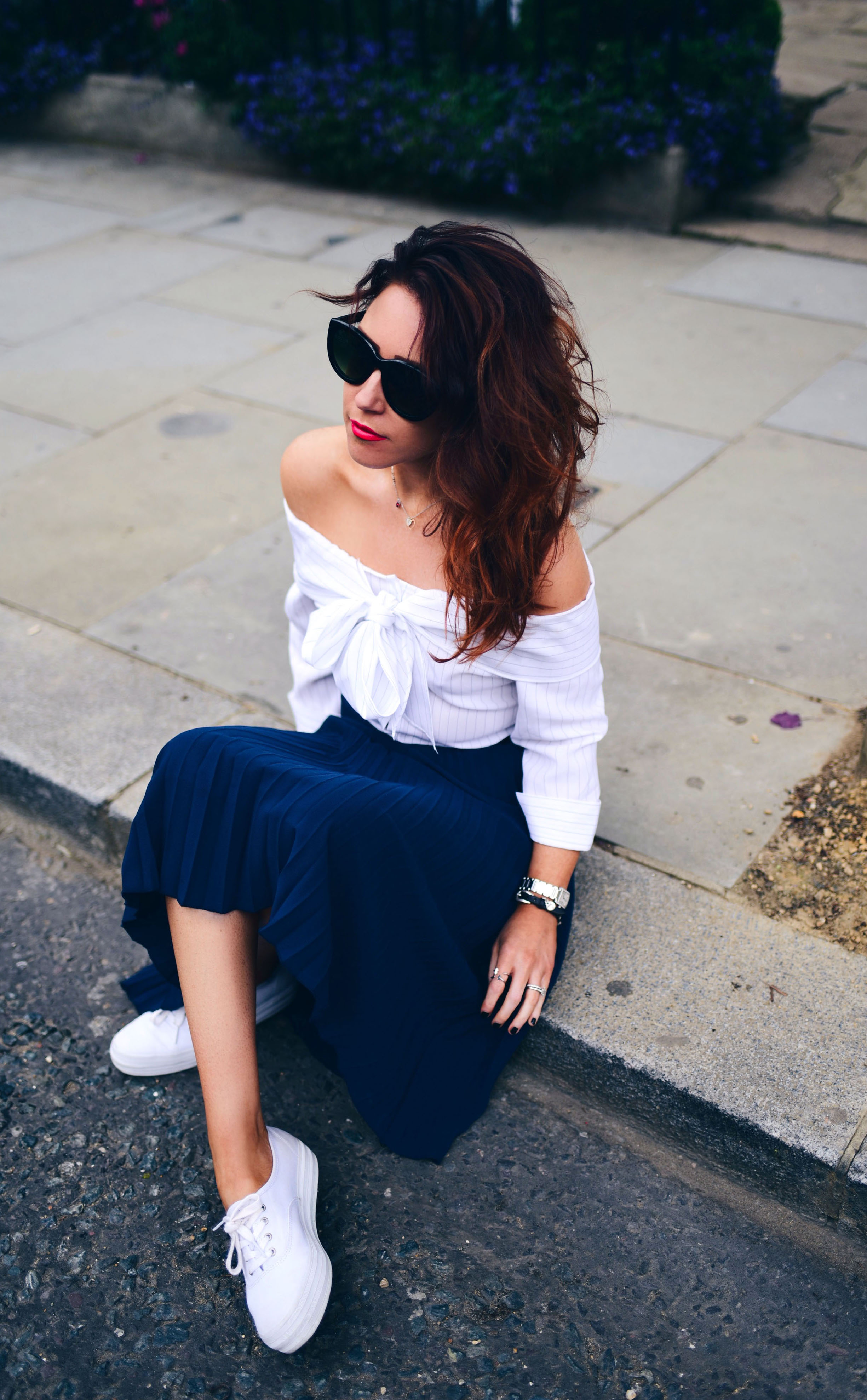 navy-pleated-skirt-crew-clothing-off-the-shoulder-top