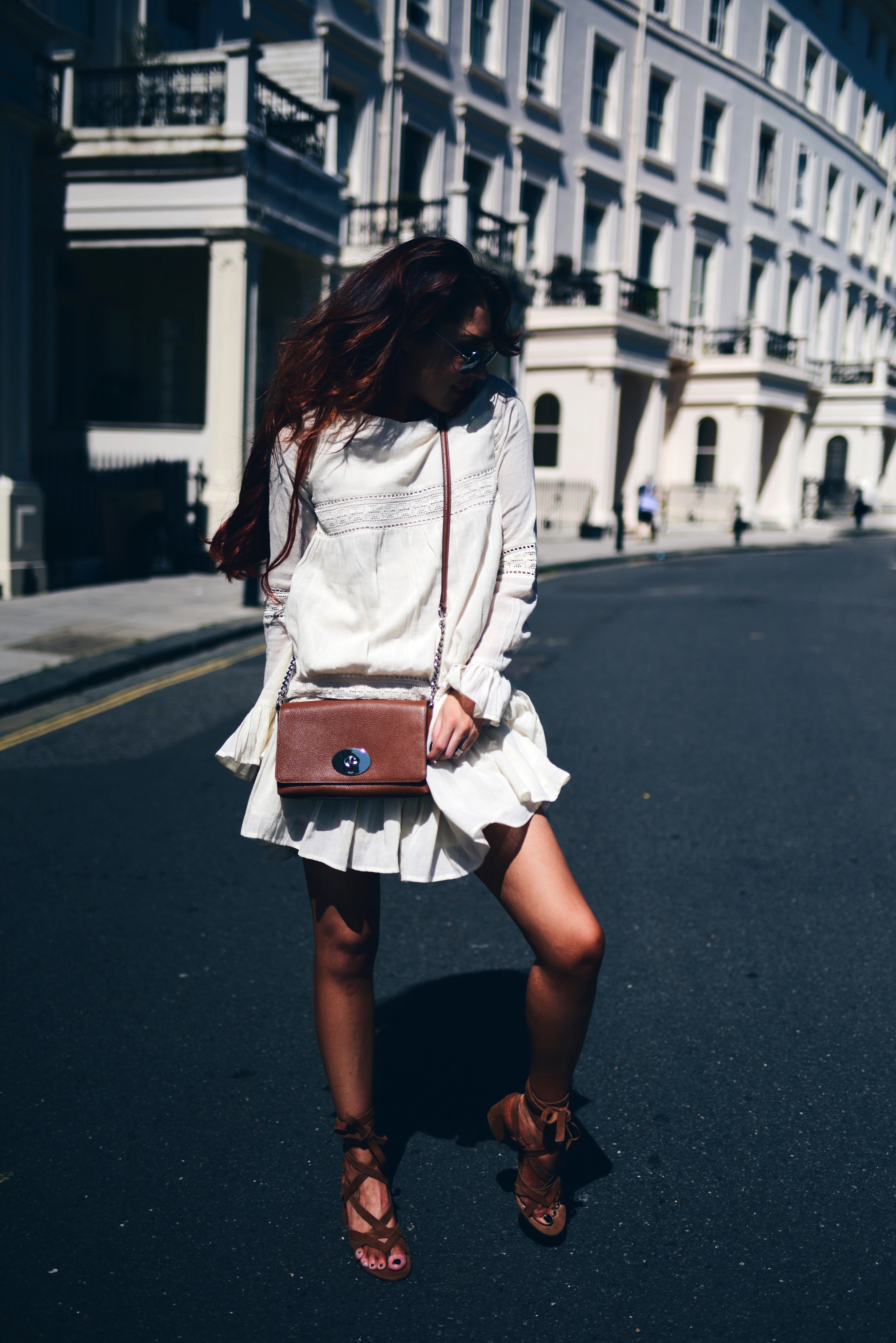 little-white-dress-paired-with-chestnut-brown-cross-body-from-selfridges