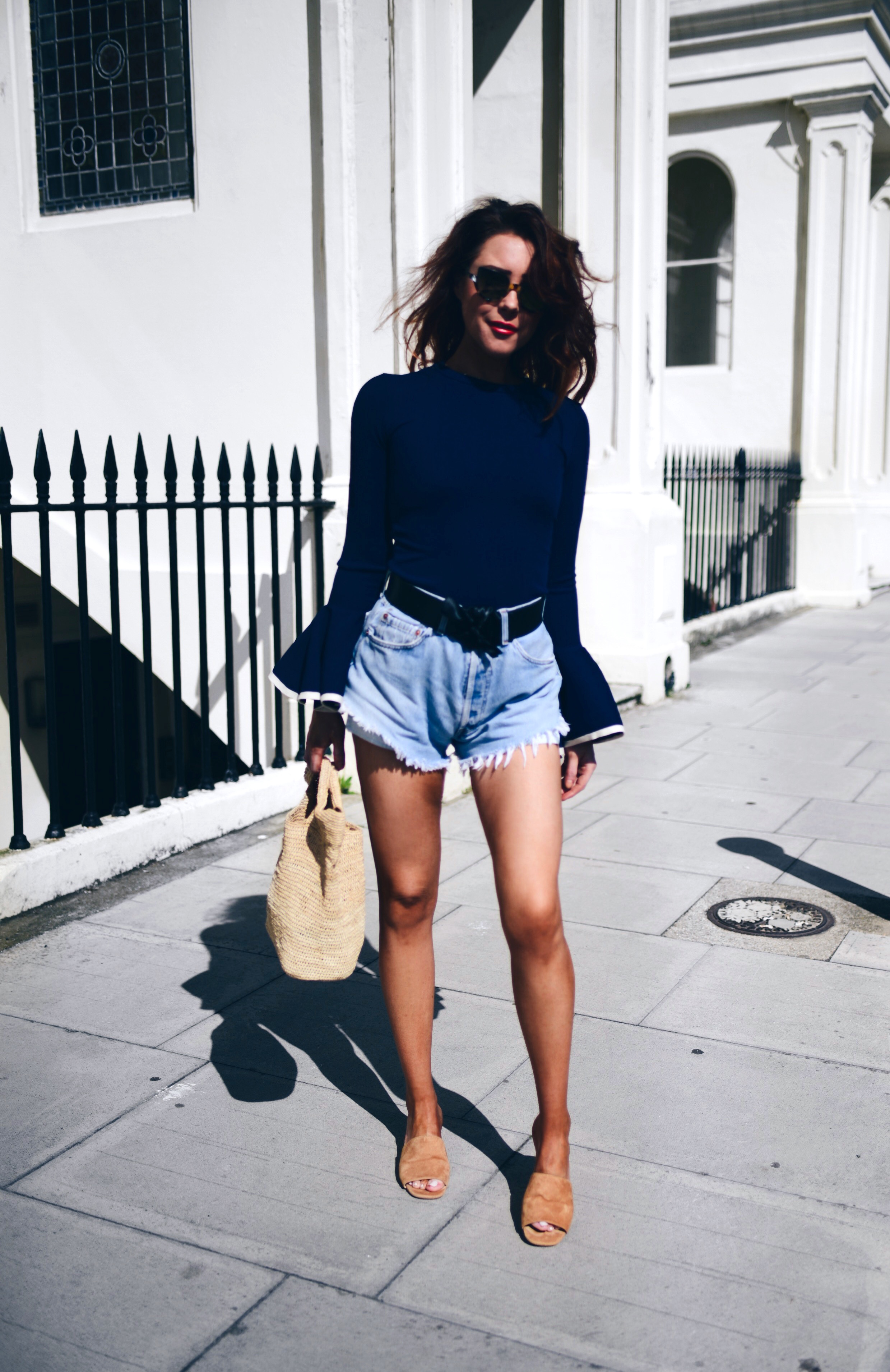 vintage-LEVIS-shorts-STORETS-bell-sleeved-top-TONY-BIANCO-mules