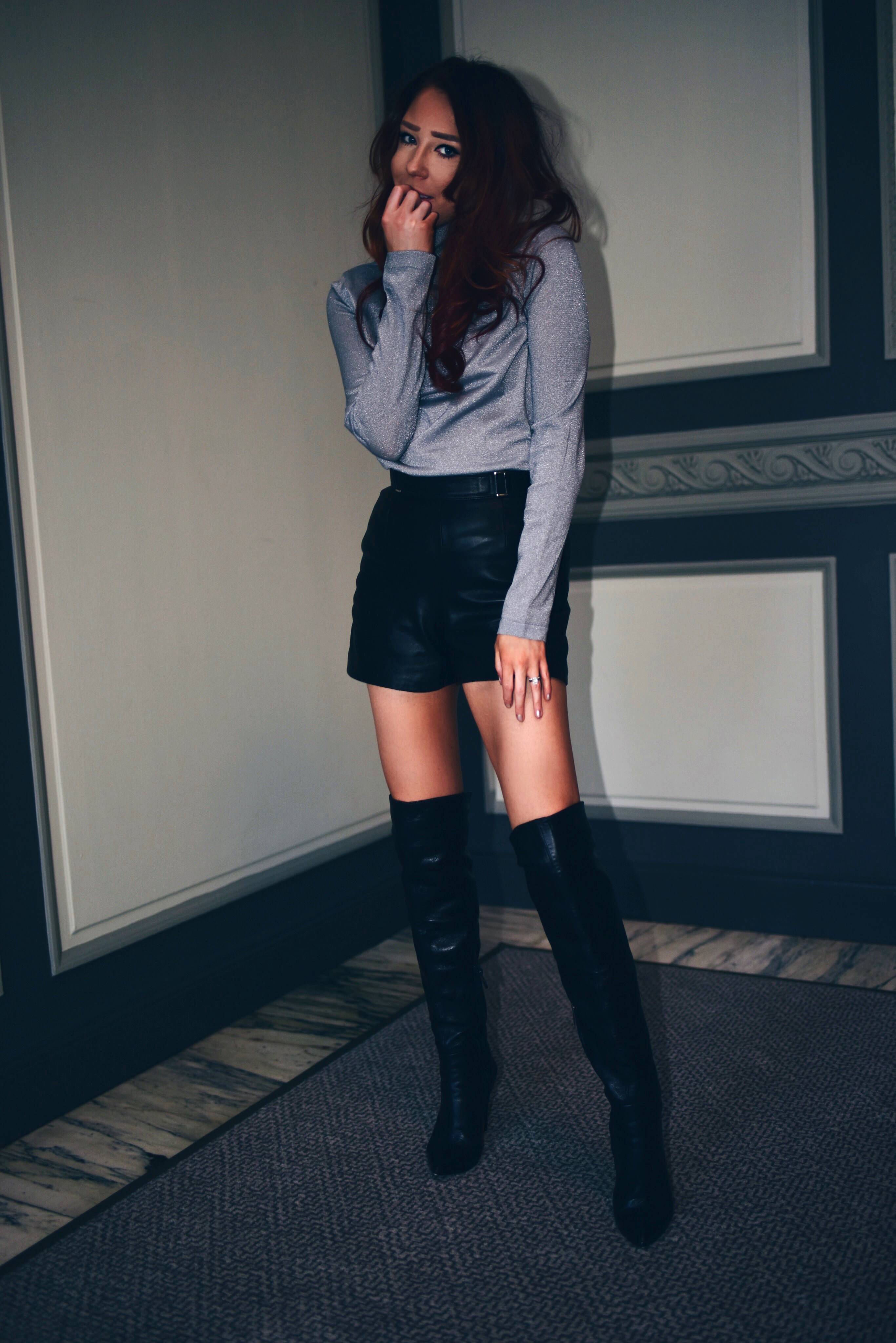 reiss-winter-jacket-leather-shorts-over-the-knee-boots