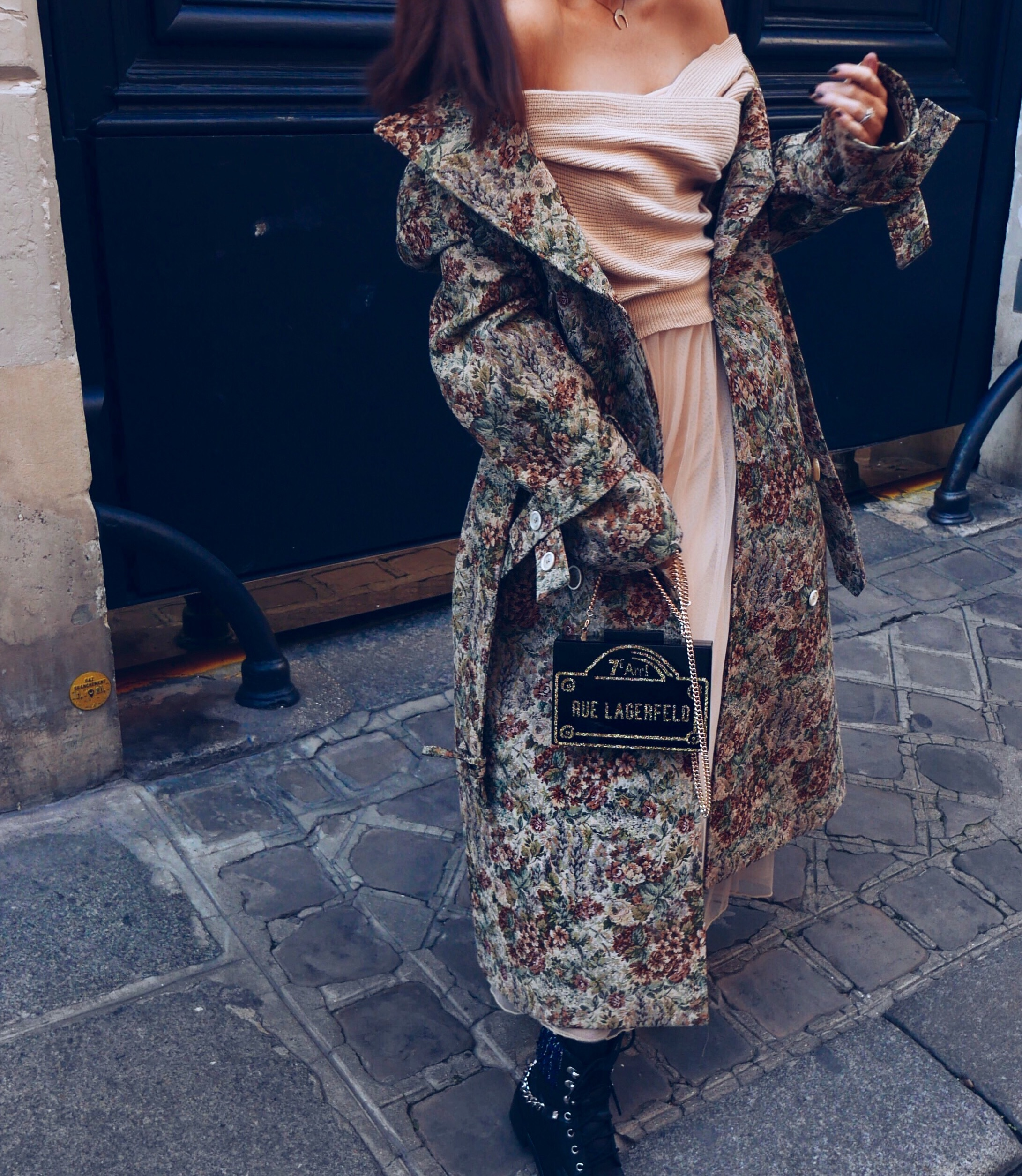 storets-Izabel-Tulle-Dress-With-Knitted-Top-and-golden-goose-deluxe-brand-damask-tapestry-coat